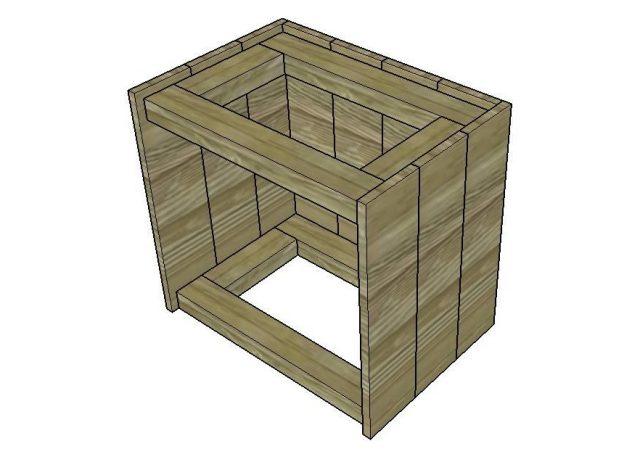 Чертеж деревянной прикроватной тумбочки