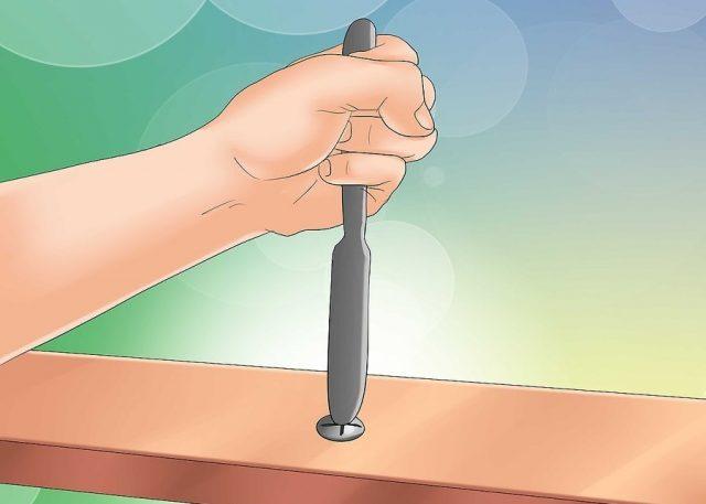 Использование ножа для выкручивания шурупа с крестообразным шлицем