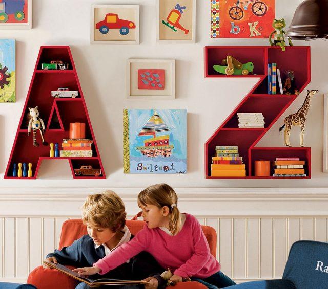 Интересный дизайн книжных полок в виде букв