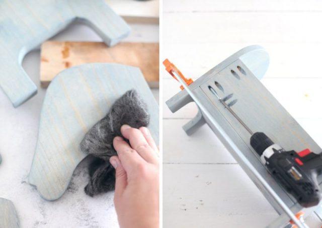 Краска вытирается тканью для получения эффекта; сверлятся отверстия