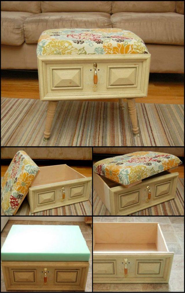 Пуф из ящика от старой мебели