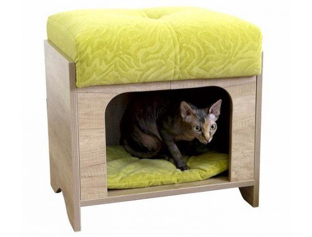 Пуф с домиком для кошки
