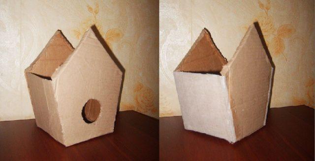 Готовая коробка картонного скворечника