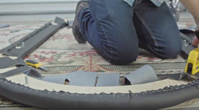 Обшивка внутренней части бортика