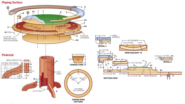 Пример чертежа круглого покерного стола