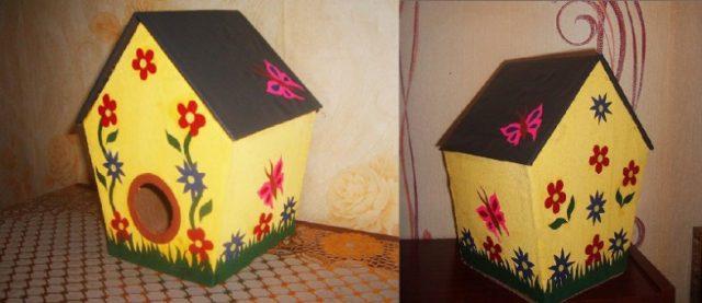 Скворечник из картона для птиц