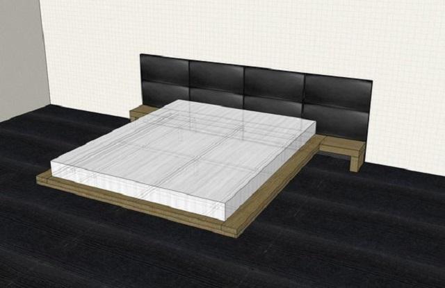 Трехмерная модель парящей кровати, вид сверху. Создавая подобную модель, вы получите возможность оценить внешний вид будущего изделия еще даже до того, как будут куплены первые материалы