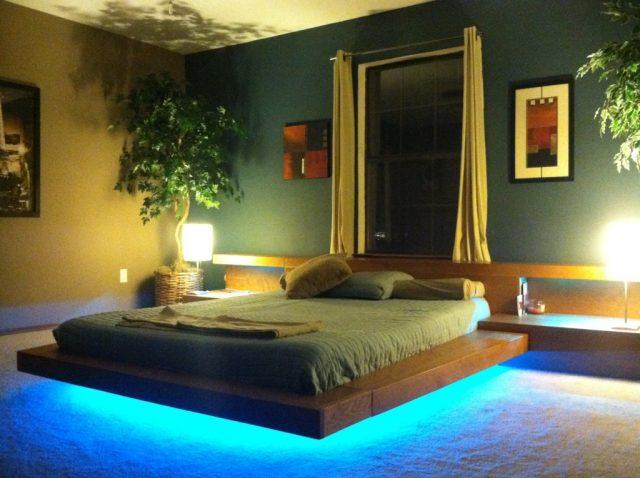Хорошим дополнением для парящей кровати станет светодиодная подсветка, размещенная вдоль ее краев