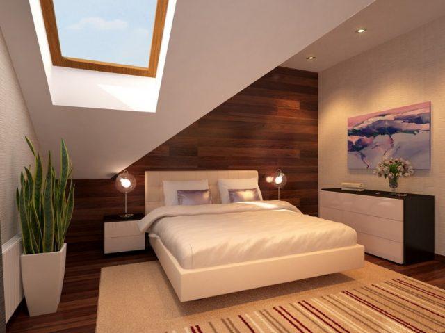 Кровать у большого панорамного окна создаёт особенное ощущение парения в воздухе