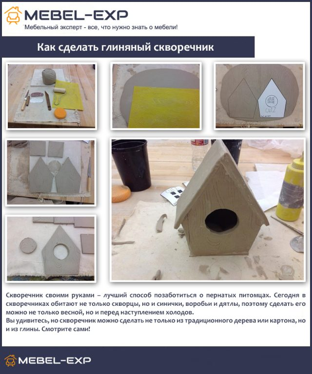 Kak-sdelat-glinyanyy-skvorechnik-640x768 Как сделать скворечник своими руками – 7 мастер-классов чертежи!